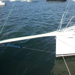 Custom carbon bowsprit with running rigging