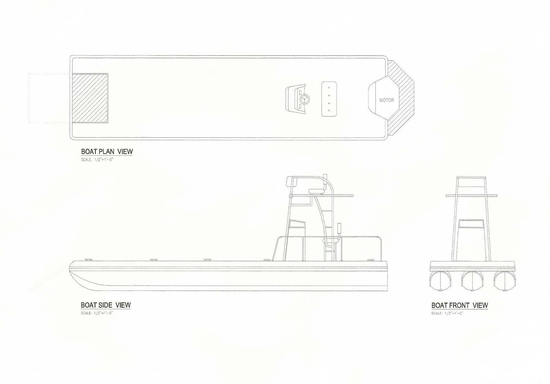 Work Boat Line Drawing